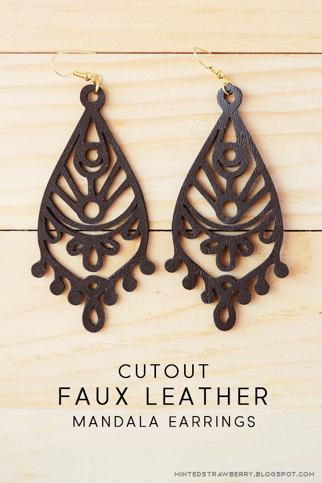 faux leather cutout mandala earrings