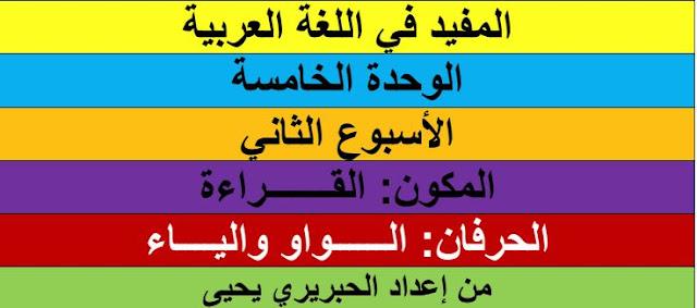 المستوى الأول جذاذات الوحدة.5.اسبوع.2..المفيد في اللغة العربية