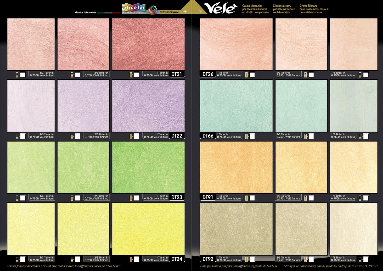 Catalogo Colori Per Pareti tabella colori pitture murali