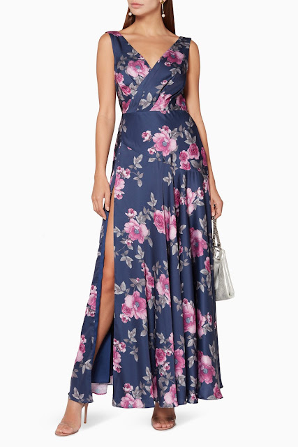 Navy Floral-Print The Makayla Dress 1000 AED