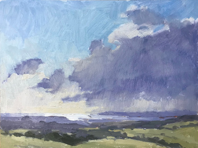 #410 'Rain Cloud, The South Downs' 9×12″
