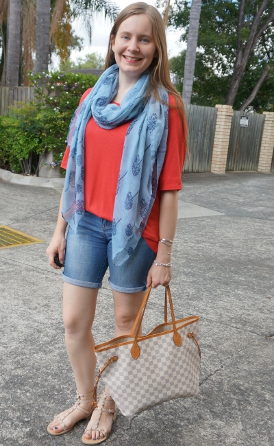 blue tree print scarf red Jeanswest woven terracotta tee Bermuda denim shorts neverfull | awayfromblue