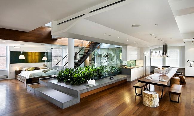 Ruang Makan dan Kamar Tidur Terbuka Rumah Minimalis Modern