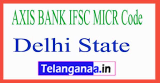 AXIS BANK IFSC MICR Code Delhi State