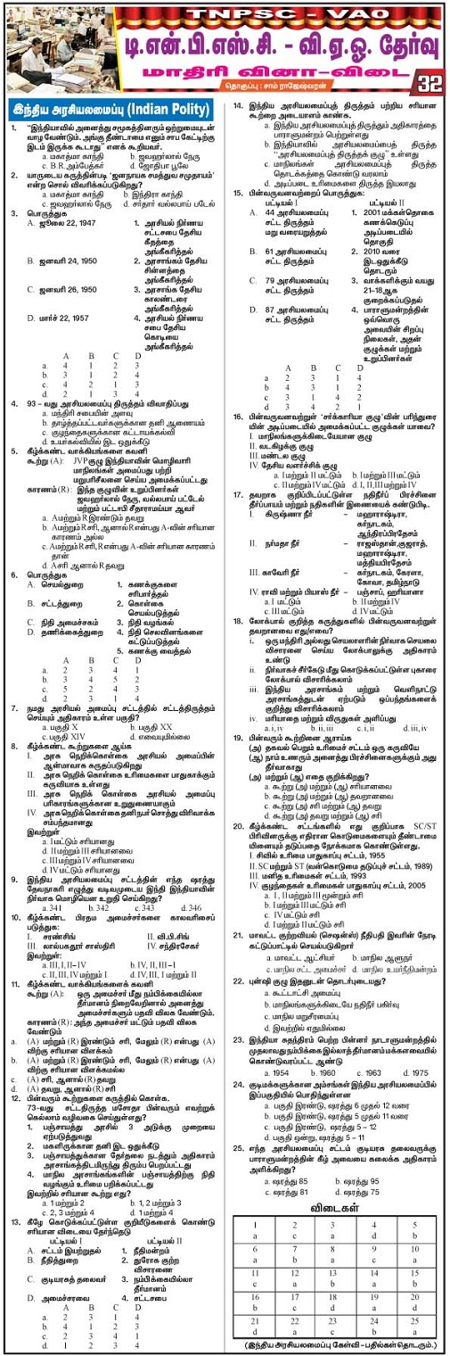 VAO-TNPSC Model Questions Answers Indian PolityPart 31 2015