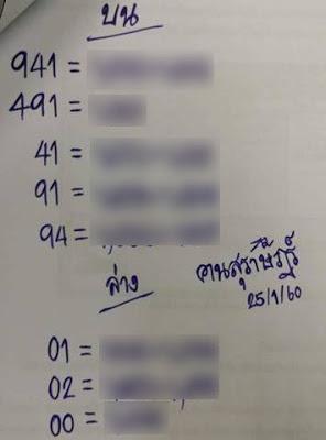 เลขเด่นบน  941  491 41  91  94 เลขเด่นล่าง  01  02  00