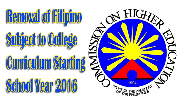 Goodbye Filipino Subject to College Curriculum Starting School Year 2016