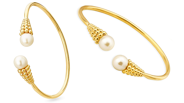 Mia by Tanishq 14KT Yellow Gold and Pearl Bangle for Women