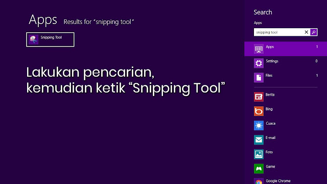 "Lakukan pencarian, kemudian ketik ""Snipping Tool"""