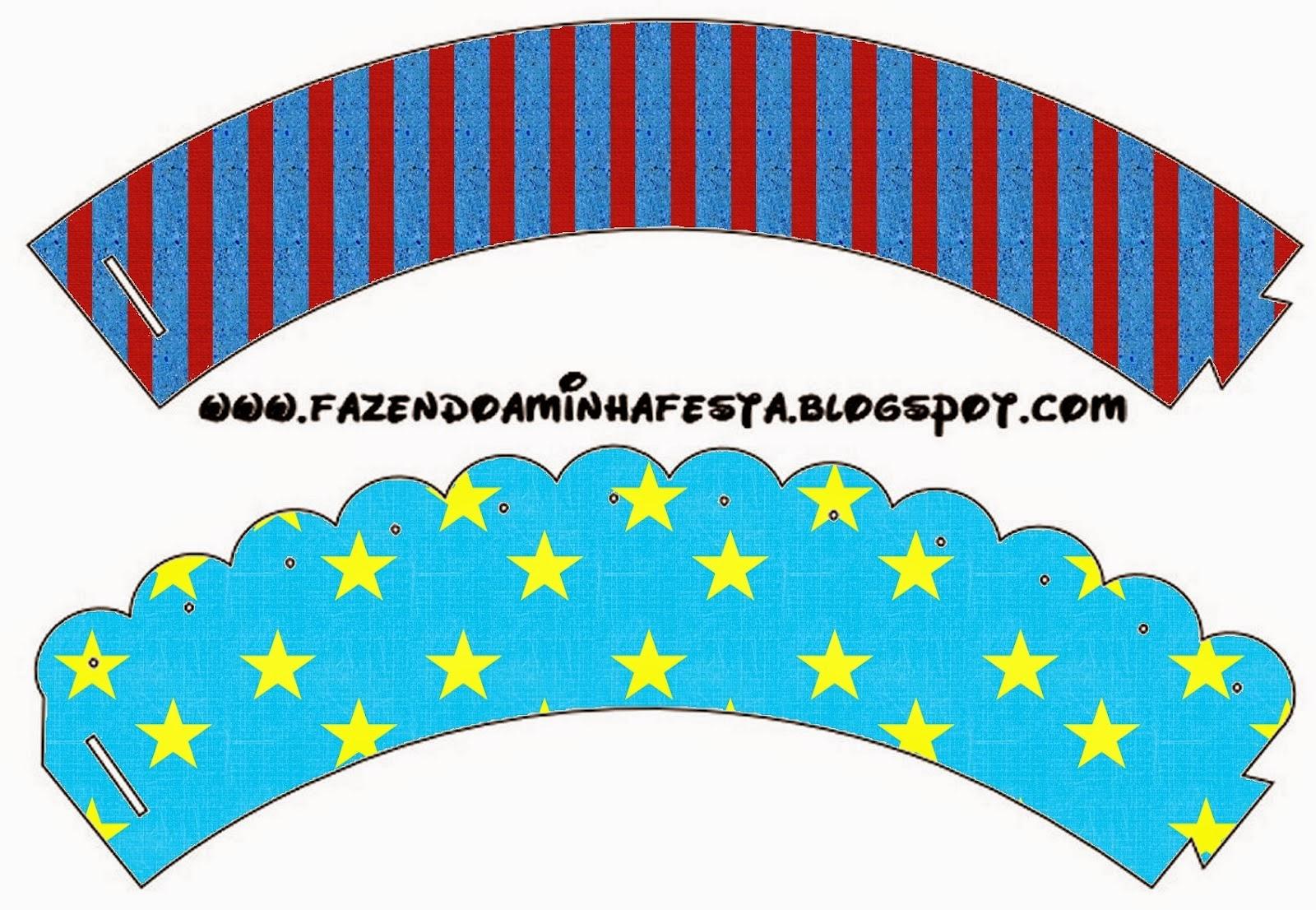 Wrappers para cupcakes de Estrellas sobre Fondo Celeste.