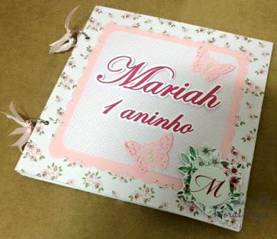 kit álbum de fotos scrap scrapbook scrapbooking livro de mensagens assinatura recordação memórias caixa personalizada aniversário infantil 1 aninho floral jardim rosa delicado menina fotografia bebê