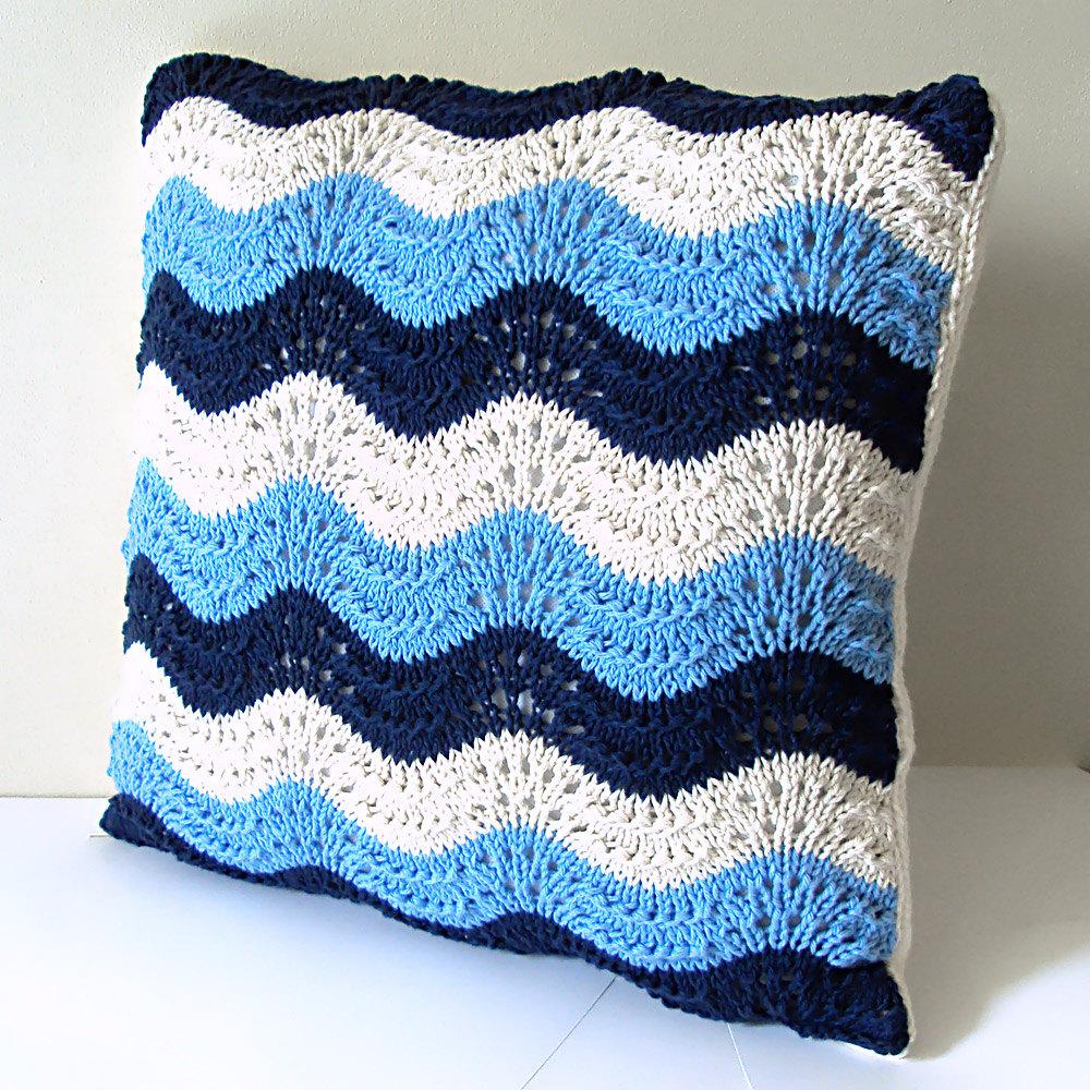 ArtInAll Blue Wave hand knit pillow