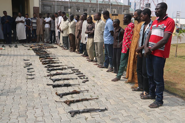 9 Nigerian police men were arrested today for robbery and kidnapping in the north-east
