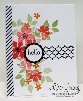 Stampin' Up! Summer Silhouettes stamp set. Clean and simple card with spray of flowers. Handmade card by Lisa Young, Add Ink and Stamp