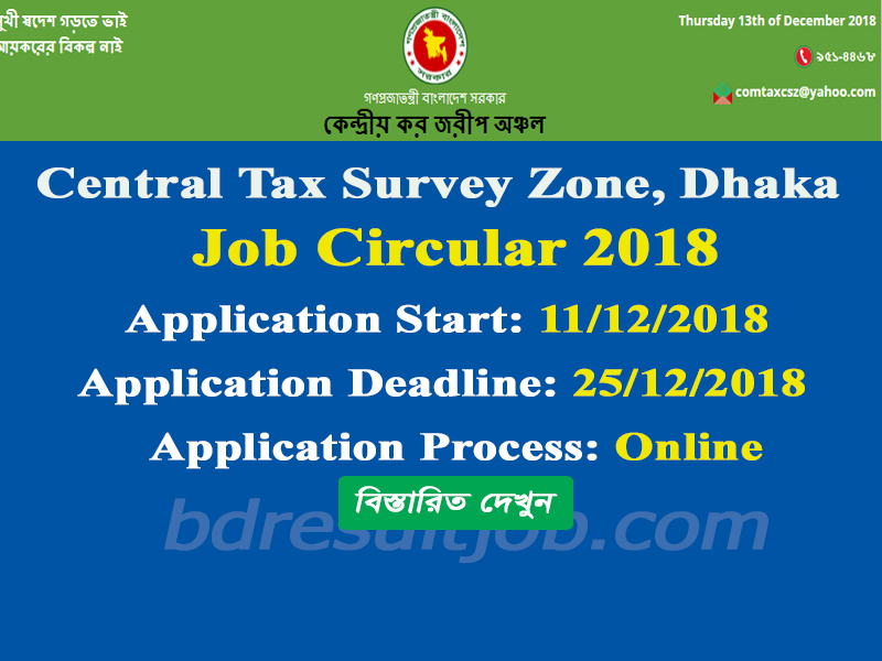 Central Tax Survey Zone, Dhaka Job Circular 2018