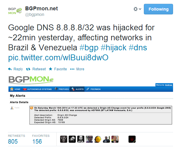 Google Public DNS Server Traffic Hijacked, Google Public DNS Server Hijacked, DNS hijacking, free dns hacked, Google DNS hacked, hacking DNS, hacking traffic, about BGP attack, network sniffing, Border Gateway Protocol (BGP), Tony Kapela and Alex Pilosov