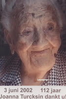 Johanna Catharina Turcksin 1890-2002. Tot nu toe de oudste vrouw van België.