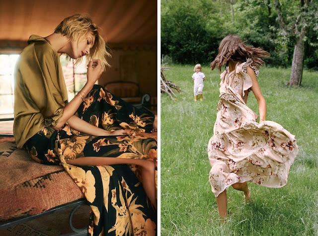 Девушки в брюках с крупным цветочным принтом и нежном цветочном платье