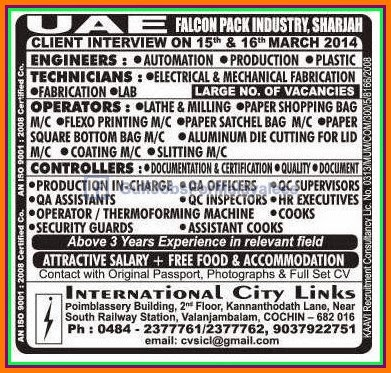 UAE Falcon Pack Industry Sharjah Large Vacancies - Gulf Jobs