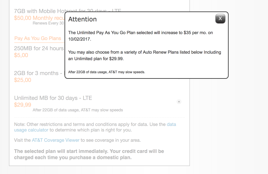 AT&T Increasing Unlimited Pay As You Go Data Tablet Plan