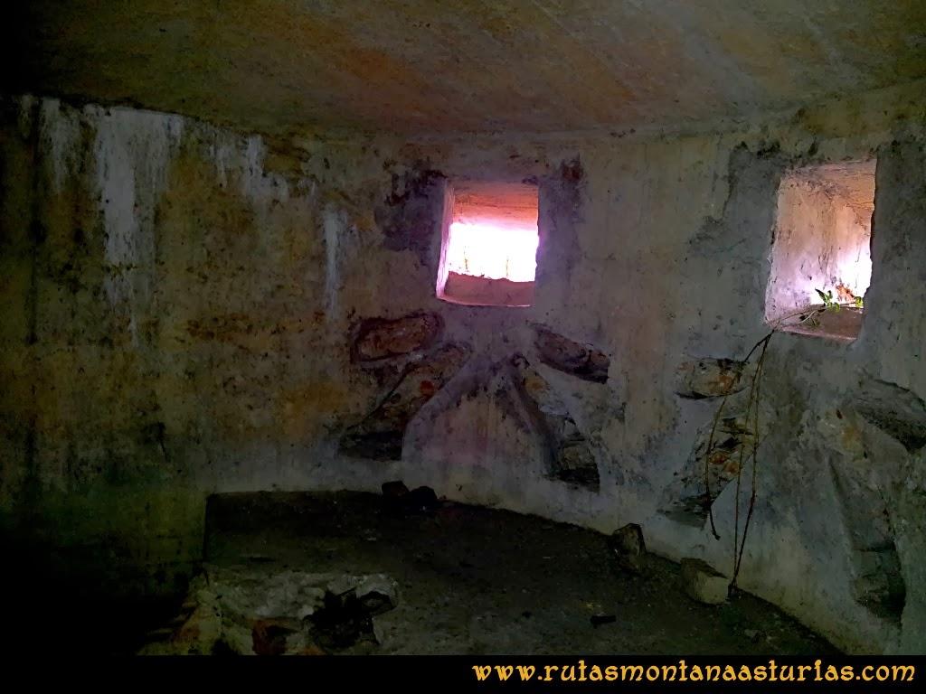 Rutas Montaña Asturias: Interior del nido de ametralladora en Peña Escrita