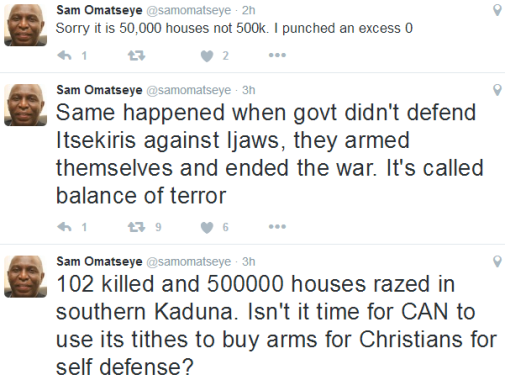 Religious crisis: Use tithe money to buy arms for Christians in Kaduna state- Veteran journalist advises CAN