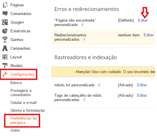 Configurando page not found 404 no blogger