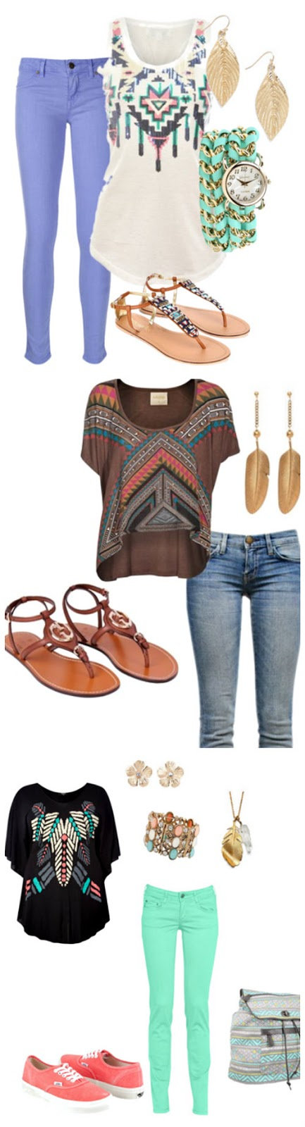 Aztec print outfits for spring. Love the pastel colors! Click through for sources. www.craftingintherain.com