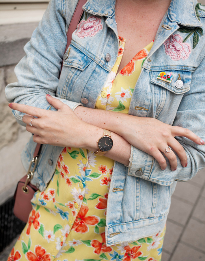 daniel wellington watch, flower embroidered denim, vintage floral dress