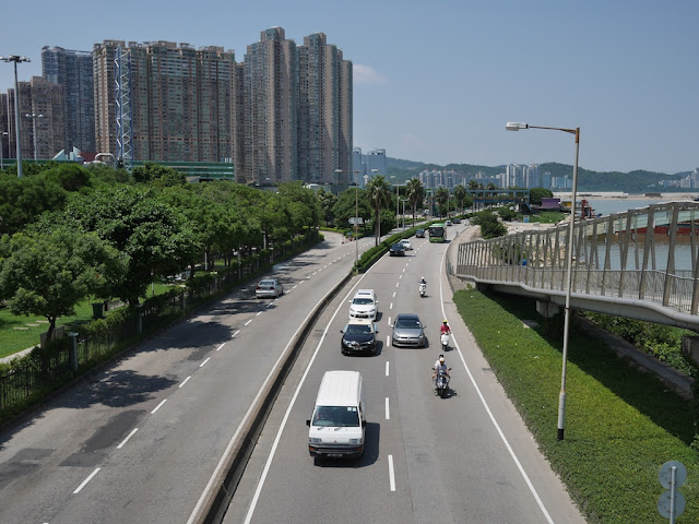 Avenida da Ponte da Amizade in Macau and Zhuhai in the background