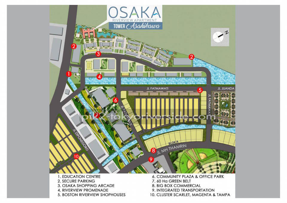 Lokasi Apartemen Osaka Riverview PIK2 Jakarta Tower Asahikawa
