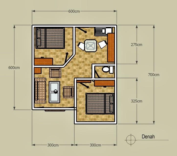 Denah Rumah Minimalis Tipe 36 Persegi