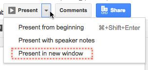 updated sending a link to google slides in presentation mode