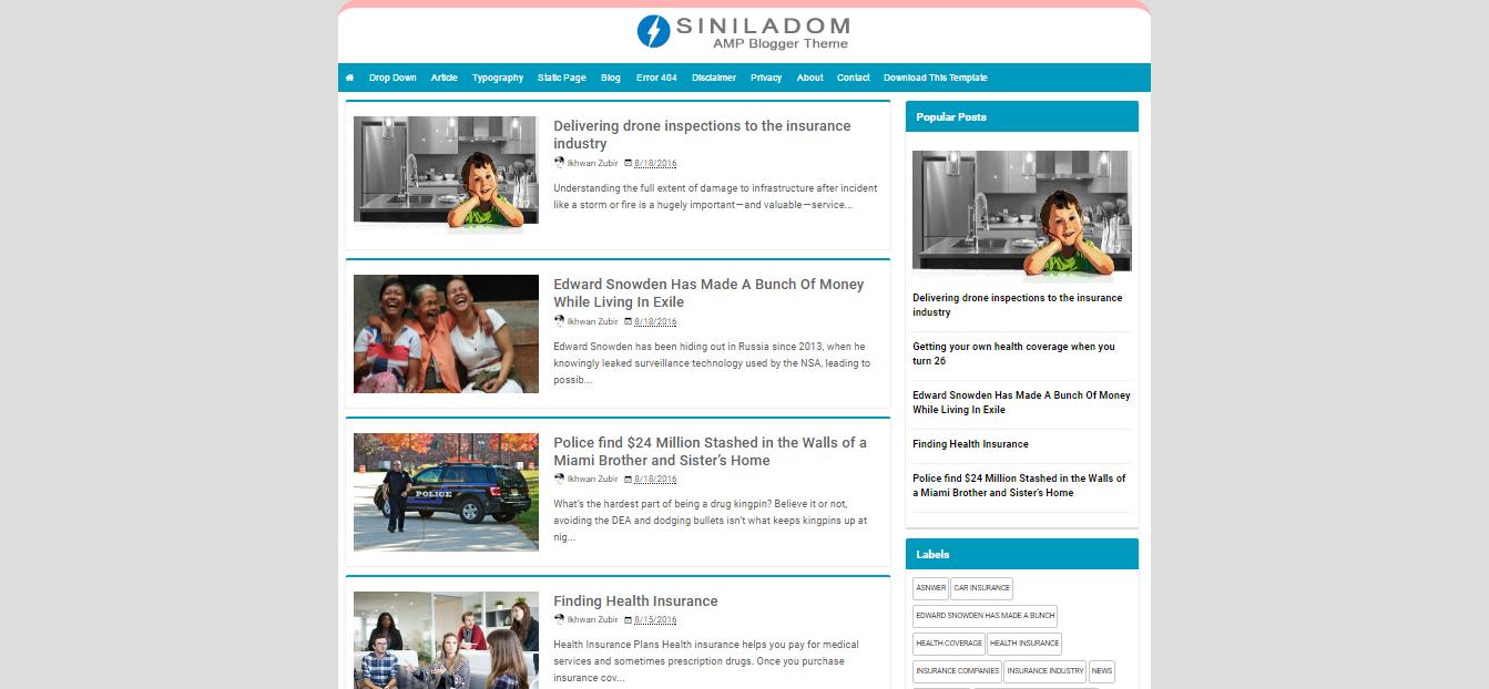 Siniladom Amp A Responsive Blogger Templates Free Download