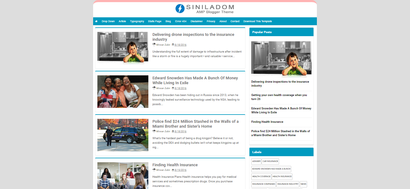 insurance blogger template  Siniladom AMP - A Responsive Blogger Templates Free Download