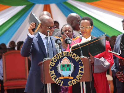 Amason Kingi sworn in as Kilifi county Governor. PHOTO | Elias Yaa