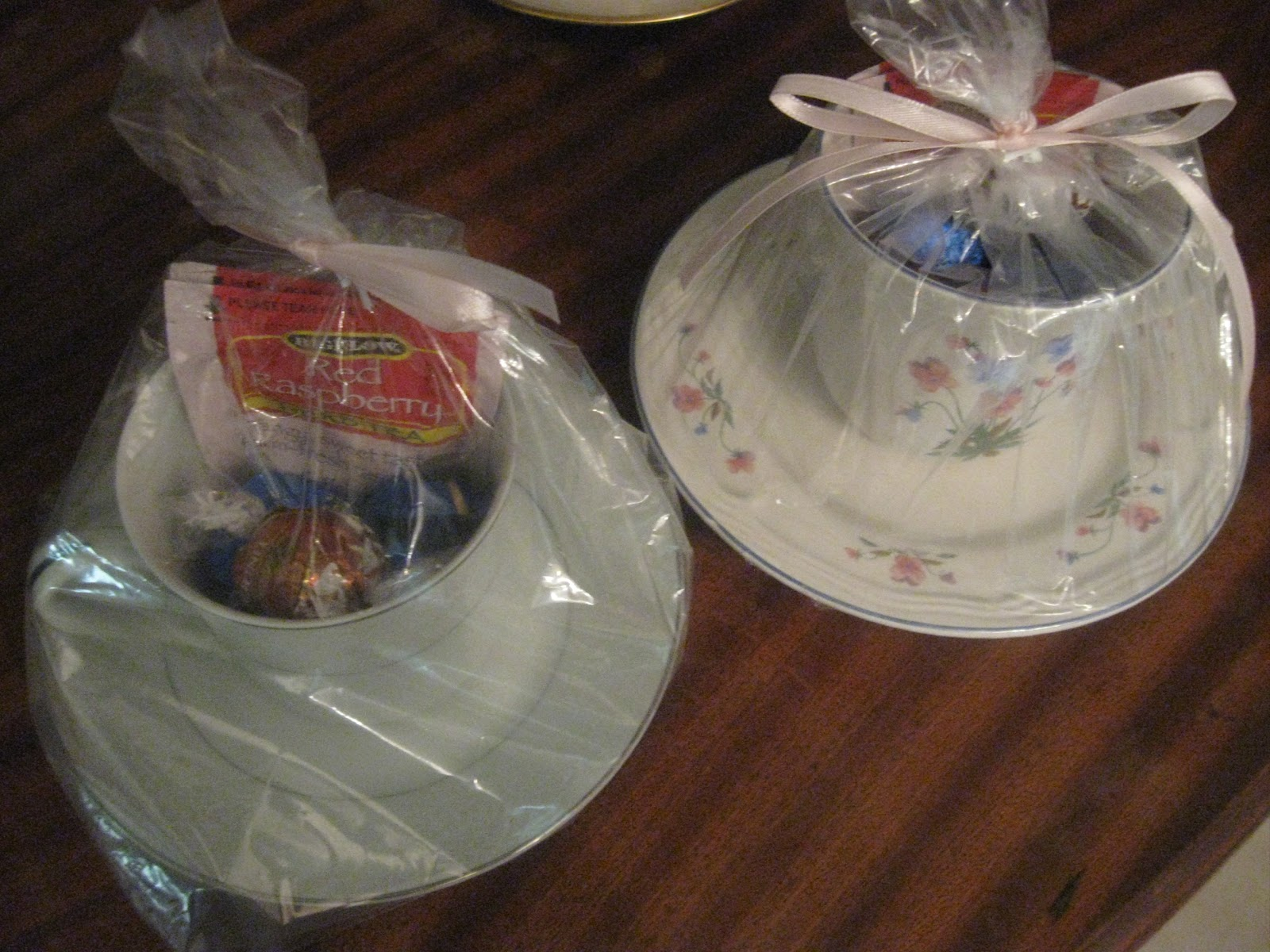 I Filled The Cups With Chocolates And Raspberry Tea Bags Kind We Served At Party Then Placed Each One In A Clear Plastic Bag Tied Them Up