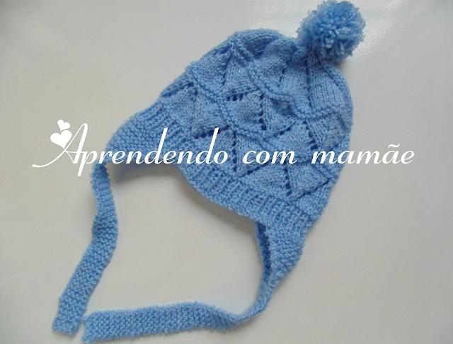 tricô, enxoval de bebê, maternidade, pompom, agulhas pingouin, círculo, lã Mais Bebê da Círculo, touca com orelhinha, roupa de bebê, touca nenê
