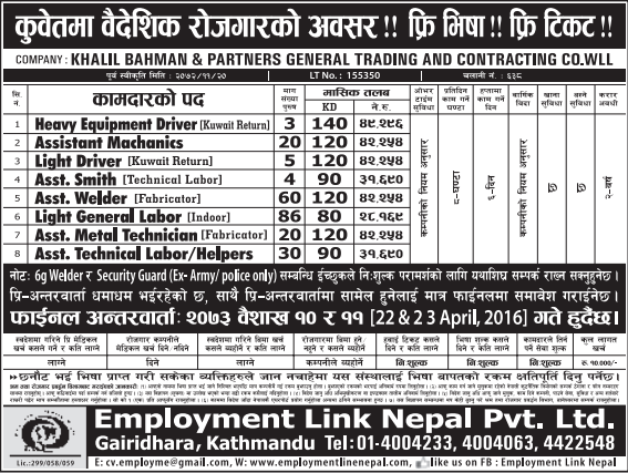 Jobs For Nepali In Kuwait, Free Visa & Free Ticket, Salary -Rs.49,296/