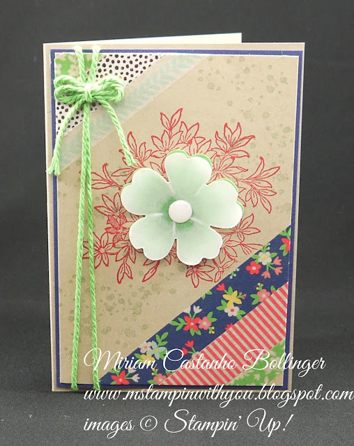 Miriam Castanho-Bollinger, #mstampinwithyou, stampin up, demonstrator, dsc, all occasions card, affectionately yours washi tape, awesomely artistic, pansy punch, white perfect accents, thick baker's twine, su