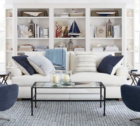 Slip Covered Sofa Chic Modern Nautical Design Idea