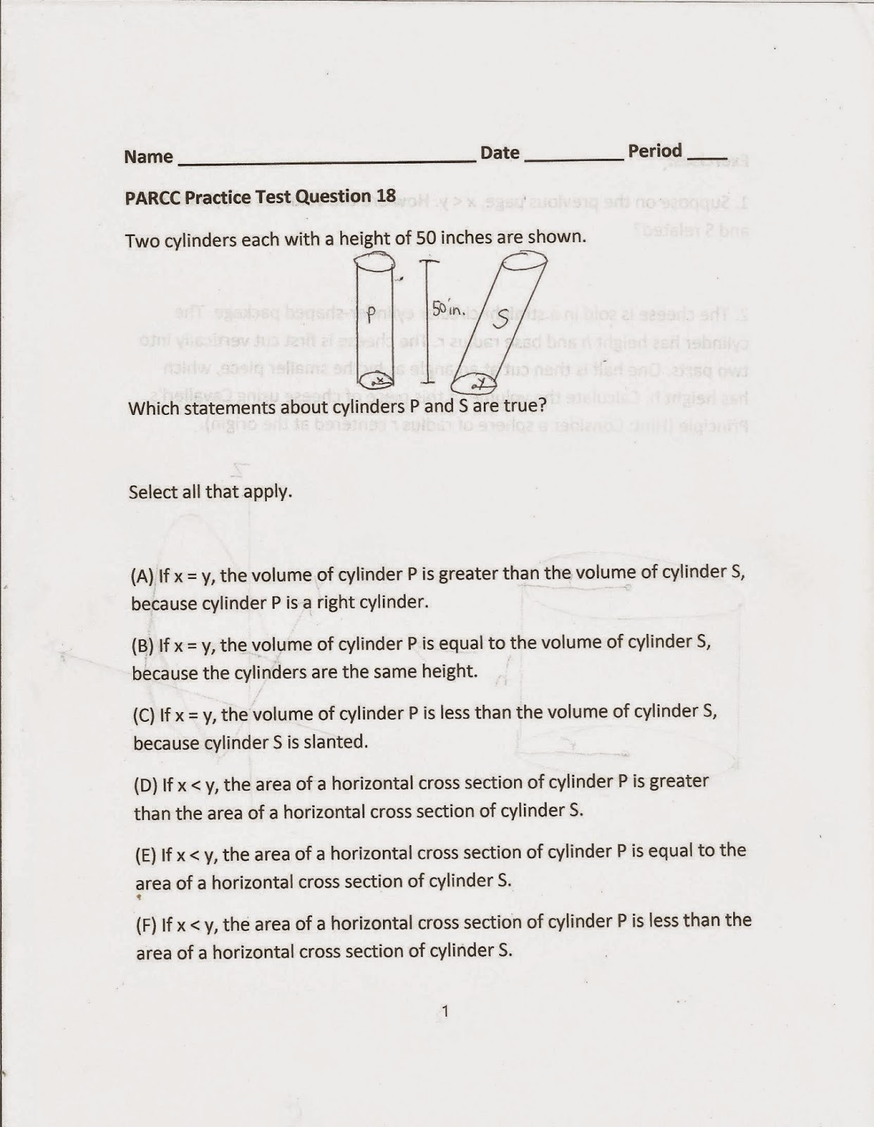 Geometry Common Core Style Parcc Practice Test Question 18 Day 163