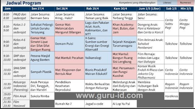 gambar jadwal pembelajaran TVRI minggu ketiga sd smp sma