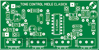 Tone Control Mono With Midle Clasik Layout PCB