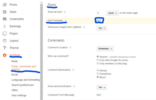 Settings and then Posts, comments and sharing.