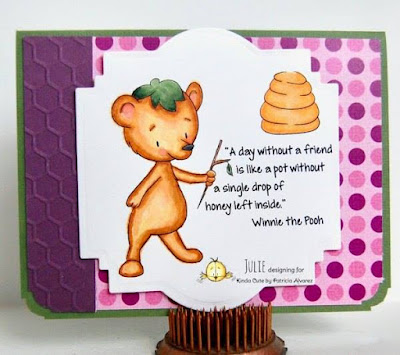 card made by Julie showing bear and beehive digital stamp