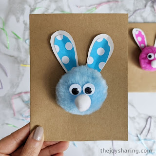 Indoor activities for kids under 6: Pom Pom Bunny Card