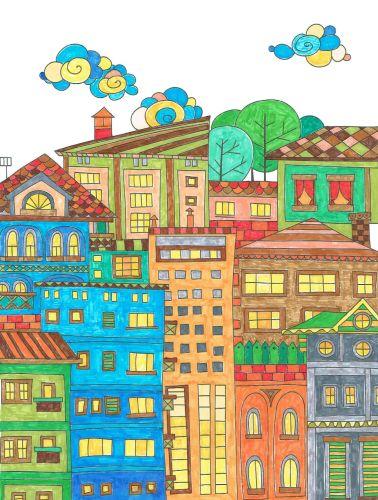 Ausmalbücher Für Erwachsene Malbuch Erwachsene Häuser Und Gebäude