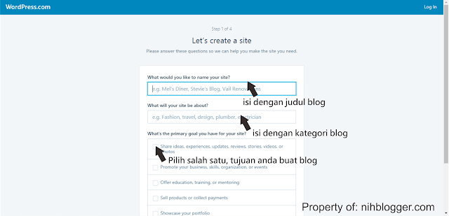 mengisi form awal wordpress