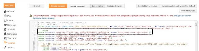 Cara Verifikasi Blog ke Google Webmaster tools
